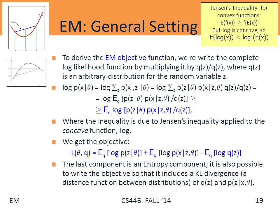 EM CS446 -FALL '14 EM: General Setting (2) To derive the EM objective function, we re-write the complete log likelihood function by multiplying it by