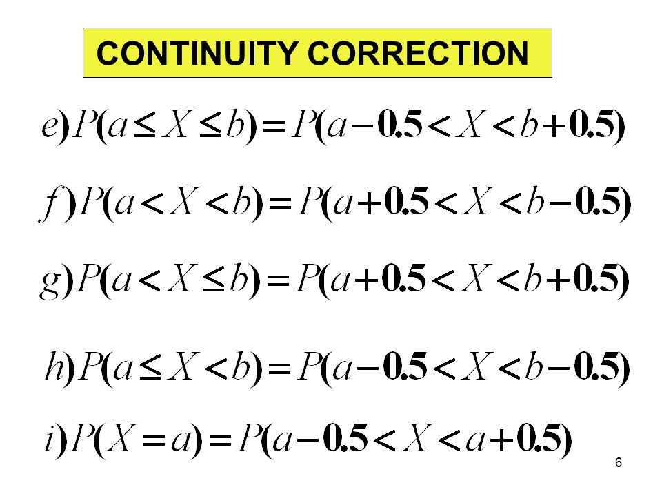 CONTINUITY CORRECTION 6