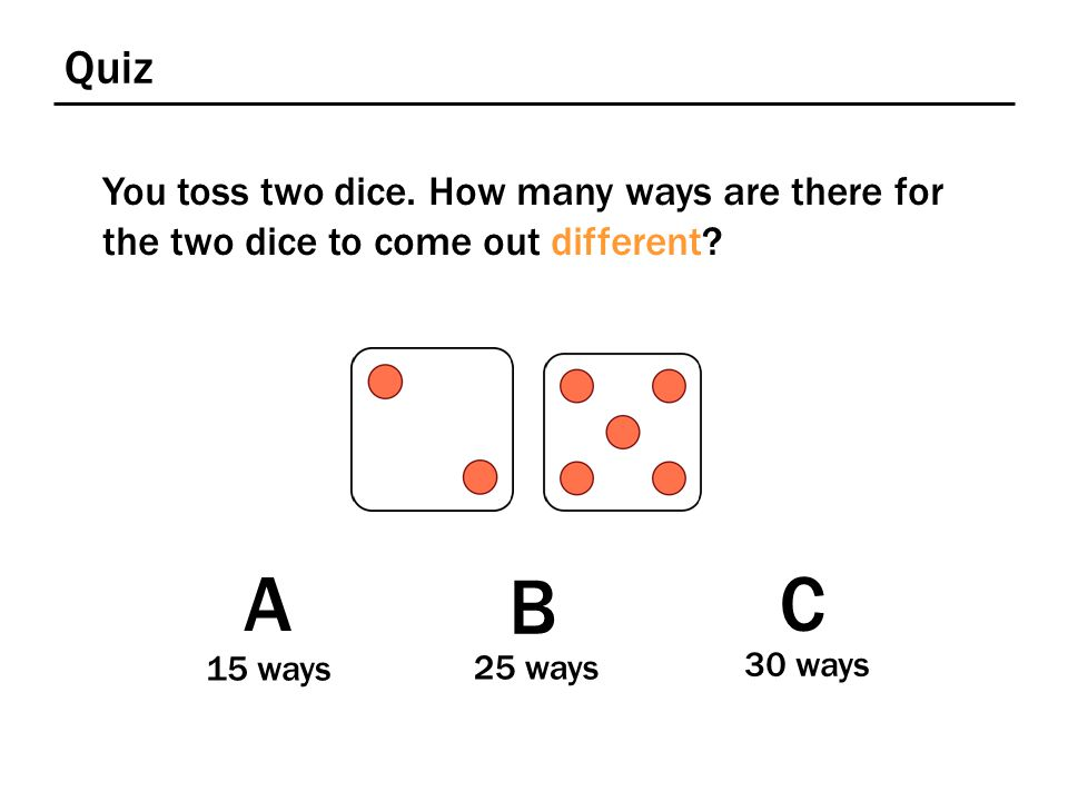 Quiz You toss two dice. How many ways are there for the two dice to come out different? A 15 ways B 25 ways C 30 ways