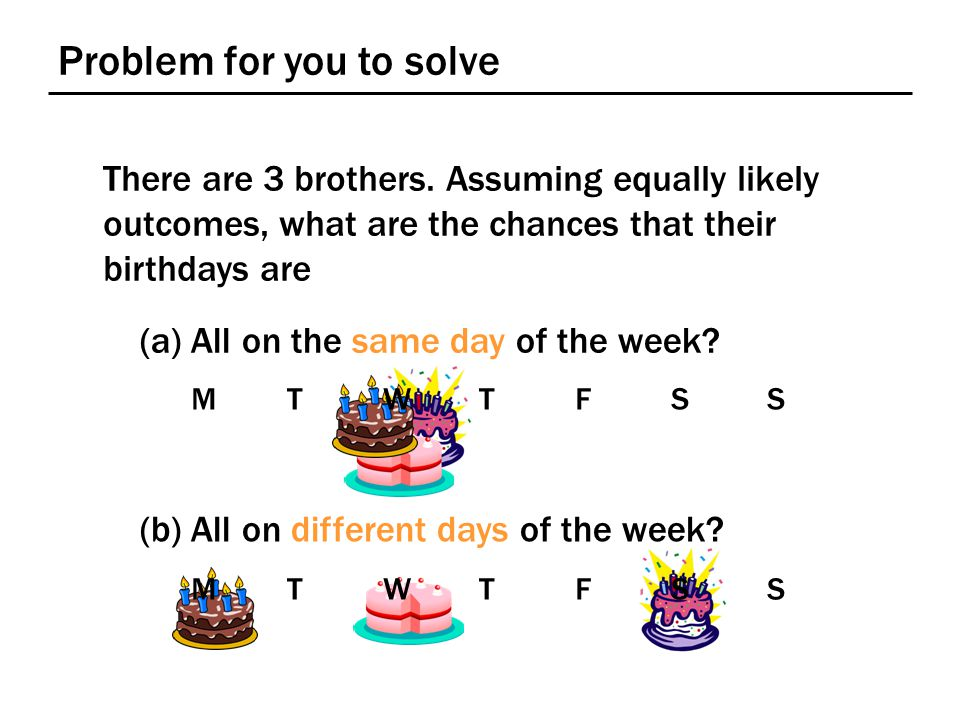 Problem for you to solve There are 3 brothers. Assuming equally likely outcomes, what are the chances that their birthdays are (a) All on the same day