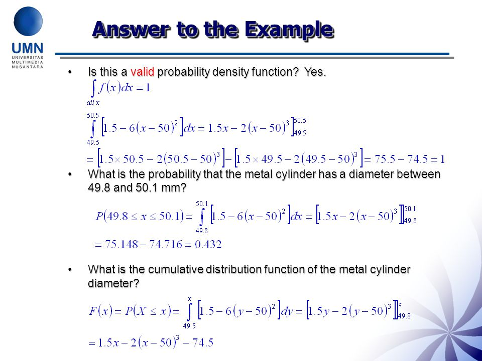 Answer to the Example Is this a valid probability density function.