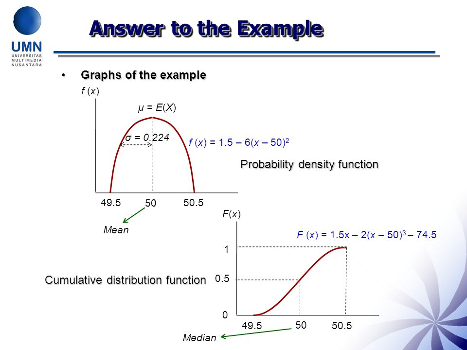 Graphs of the exampleGraphs of the example 49.5 50.5 50 μ = E(X) f (x) f (x) = 1.5 – 6(x – 50) 2 Probability density function 49.5 50.5 F(x)F(x) F (x) = 1.5x – 2(x – 50) 3 – 74.5 0 1 Cumulative distribution function σ = 0.224 0.5 50 Median Mean