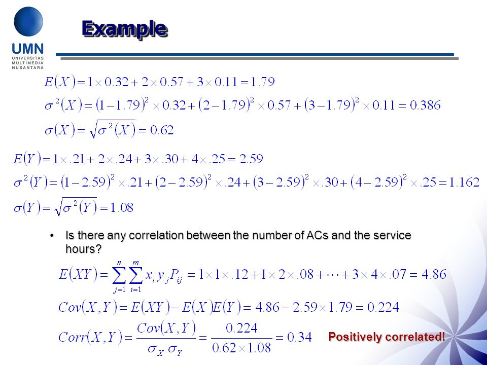 ExampleExample Is there any correlation between the number of ACs and the service hours?Is there any correlation between the number of ACs and the service hours.