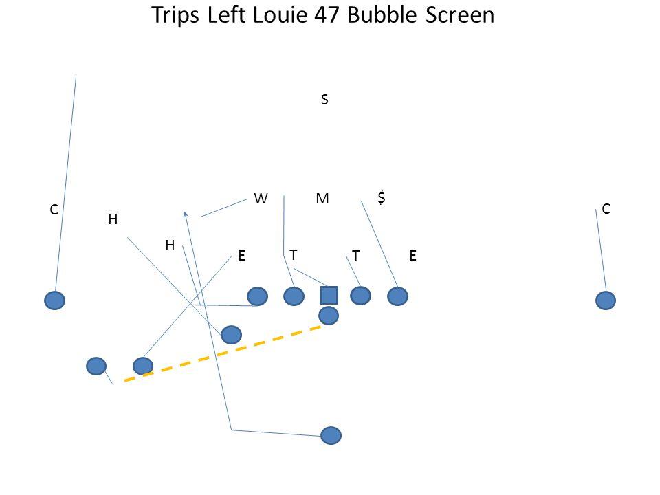 Trips Left Louie 47 Bubble Screen T TEE MW S H C H C $