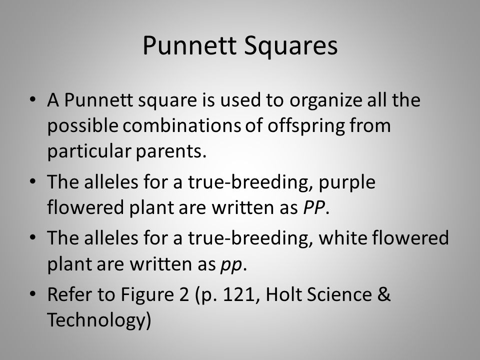 Punnett Squares A Punnett square is used to organize all the possible combinations of offspring from particular parents. The alleles for a true-breedi