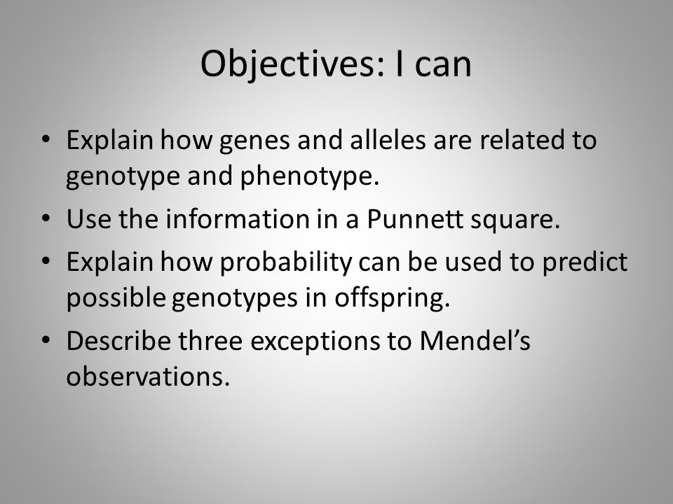 Objectives: I can Explain how genes and alleles are related to genotype and phenotype. Use the information in a Punnett square. Explain how probabilit