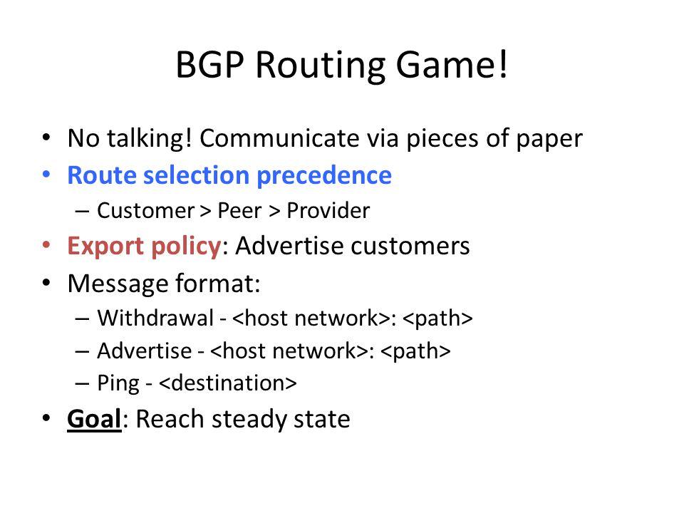 BGP Routing Game. No talking.
