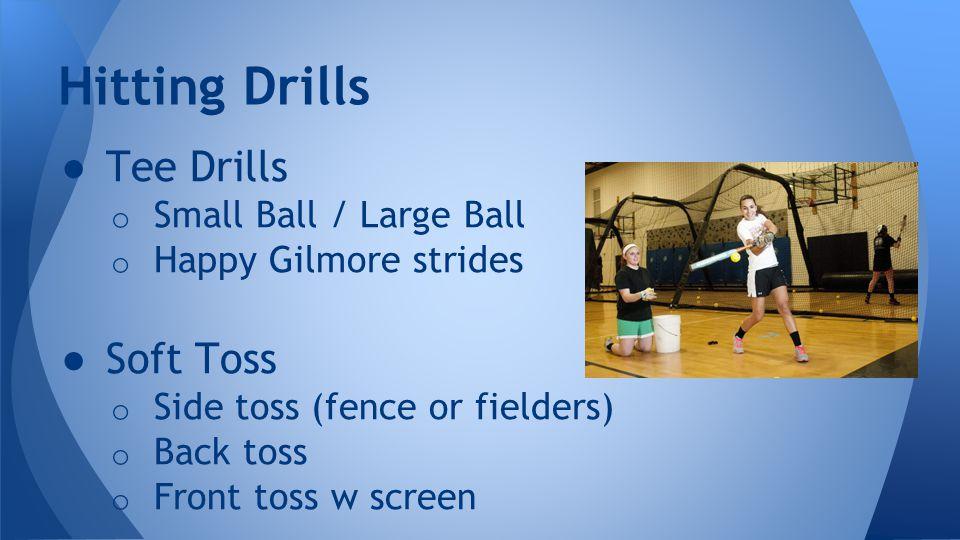 Pitching ● Wrist snaps ● T Drills ● Arm circles Catching ● Framing ● Blocking ● Pop Time (one leg balance drills) Pitching/Catching Drills
