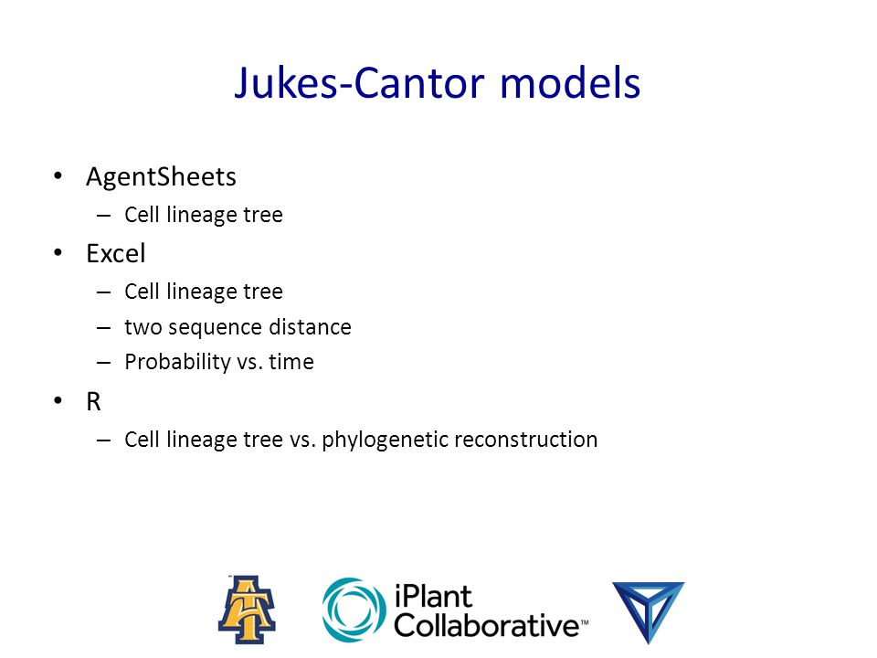 Jukes-Cantor models AgentSheets – Cell lineage tree Excel – Cell lineage tree – two sequence distance – Probability vs. time R – Cell lineage tree vs.