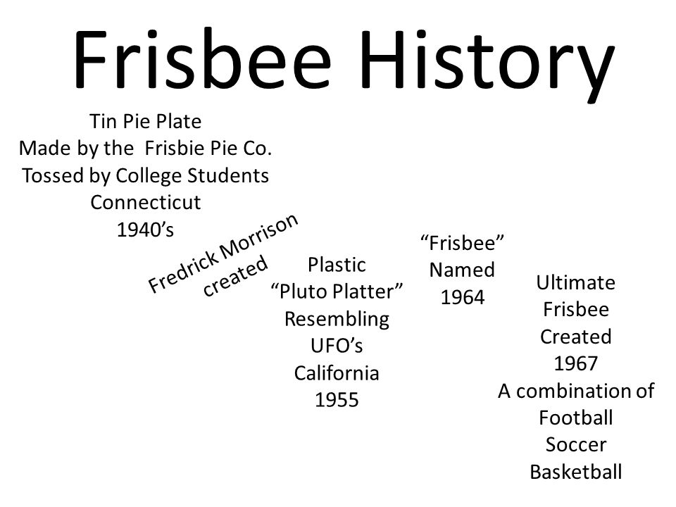 "Frisbee History Plastic ""Pluto Platter"" Resembling UFO's California 1955 Tin Pie Plate Made by the Frisbie Pie Co. Tossed by College Students Connecti"