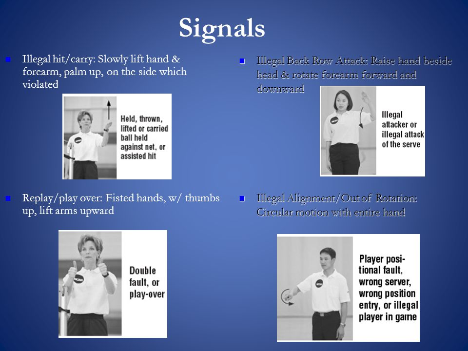 Signals Illegal hit/carry: Slowly lift hand & forearm, palm up, on the side which violated Replay/play over: Fisted hands, w/ thumbs up, lift arms upward Illegal Back Row Attack: Raise hand beside head & rotate forearm forward and downward Illegal Back Row Attack: Raise hand beside head & rotate forearm forward and downward Illegal Alignment/Out of Rotation: Circular motion with entire hand Illegal Alignment/Out of Rotation: Circular motion with entire hand