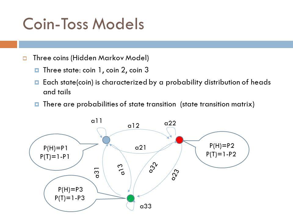 Coin-Toss Models  Three coins (Hidden Markov Model)  Three state: coin 1, coin 2, coin 3  Each state(coin) is characterized by a probability distri