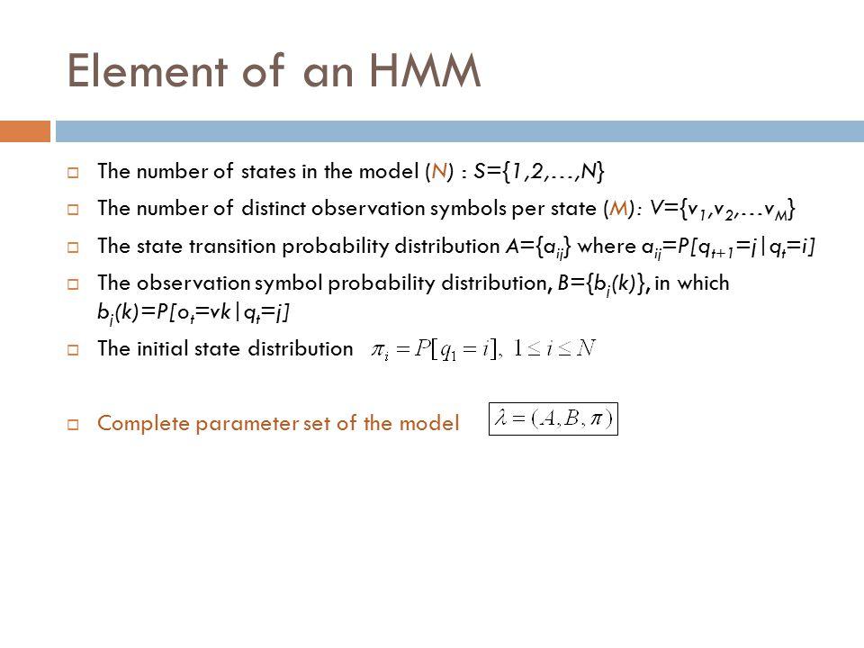 Element of an HMM  The number of states in the model (N) : S={1,2,…,N}  The number of distinct observation symbols per state (M): V={v 1,v 2,…v M }