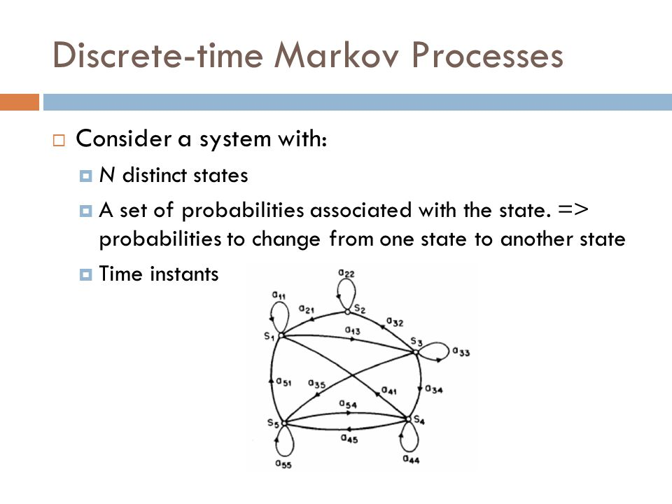 Discrete-time Markov Processes  Consider a system with:  N distinct states  A set of probabilities associated with the state.