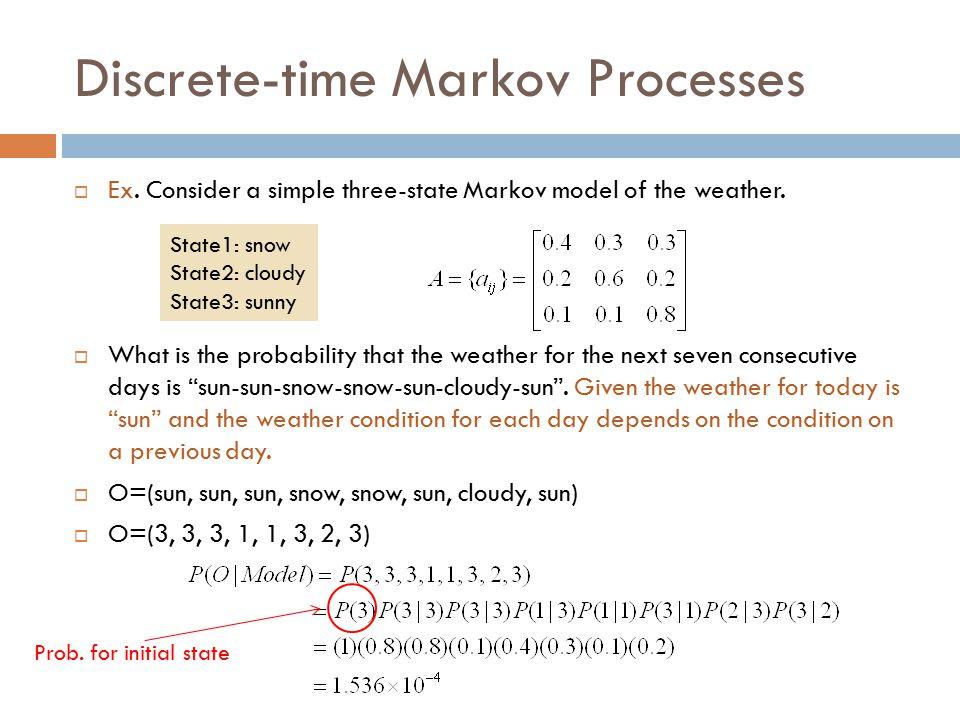 Discrete-time Markov Processes  Ex. Consider a simple three-state Markov model of the weather.