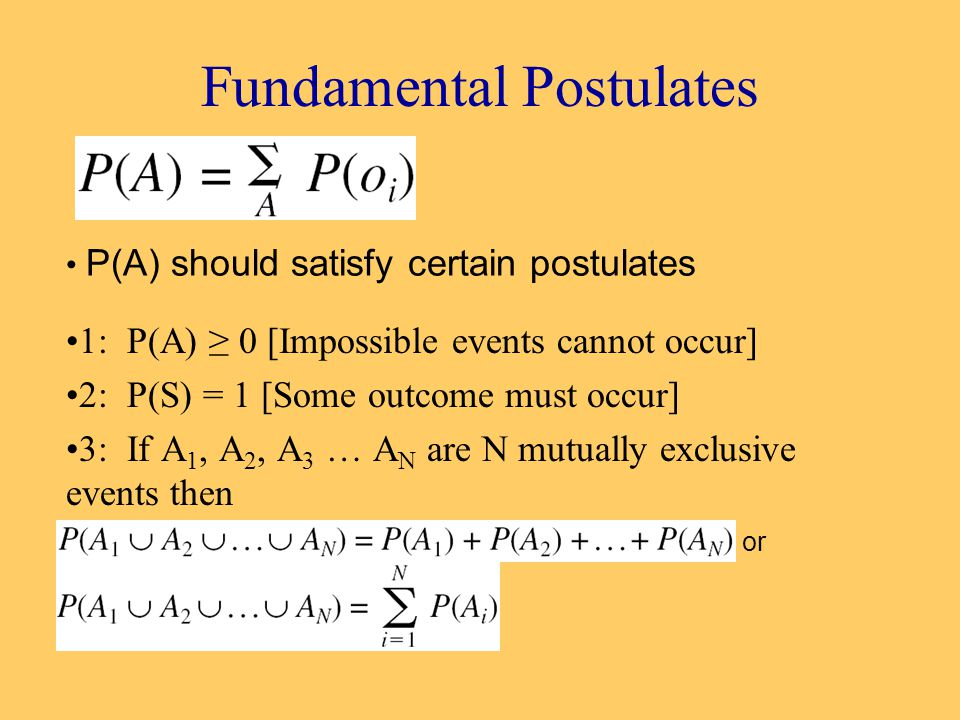 Fundamental Postulates 1: P(A) ≥ 0 [Impossible events cannot occur] 2: P(S) = 1 [Some outcome must occur] 3: If A 1, A 2, A 3 … A N are N mutually exclusive events then or P(A) should satisfy certain postulates