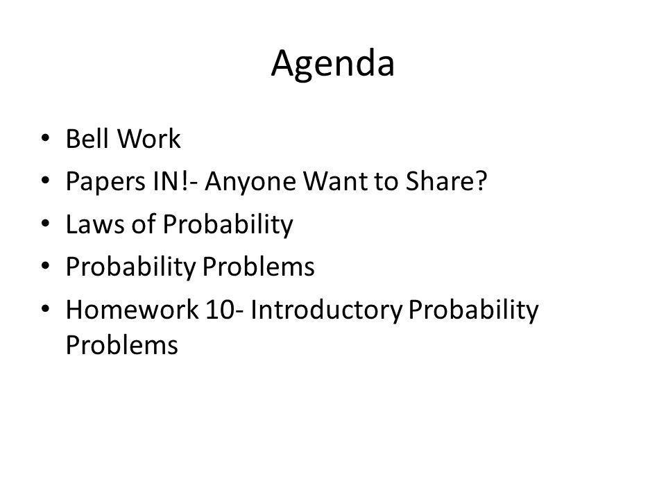 Agenda Bell Work Papers IN!- Anyone Want to Share.