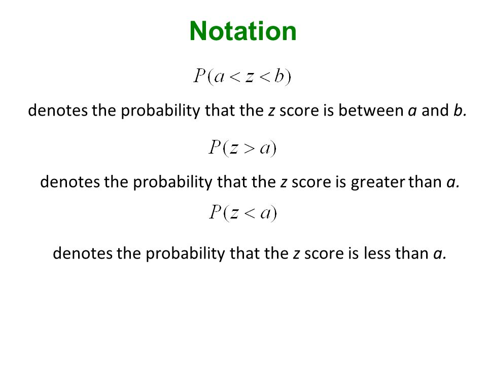 denotes the probability that the z score is between a and b.