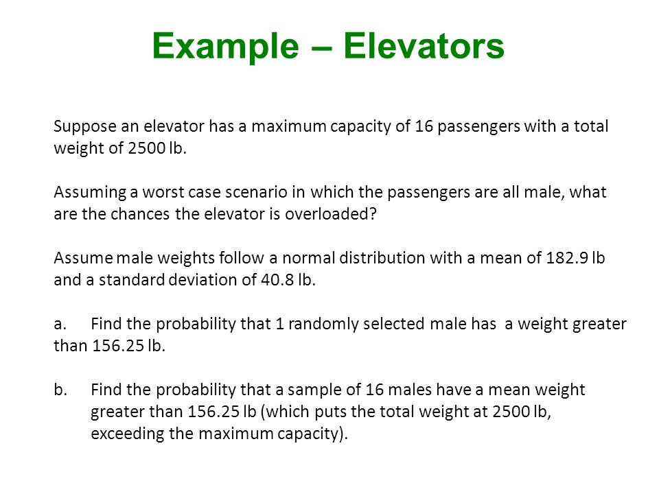Suppose an elevator has a maximum capacity of 16 passengers with a total weight of 2500 lb.