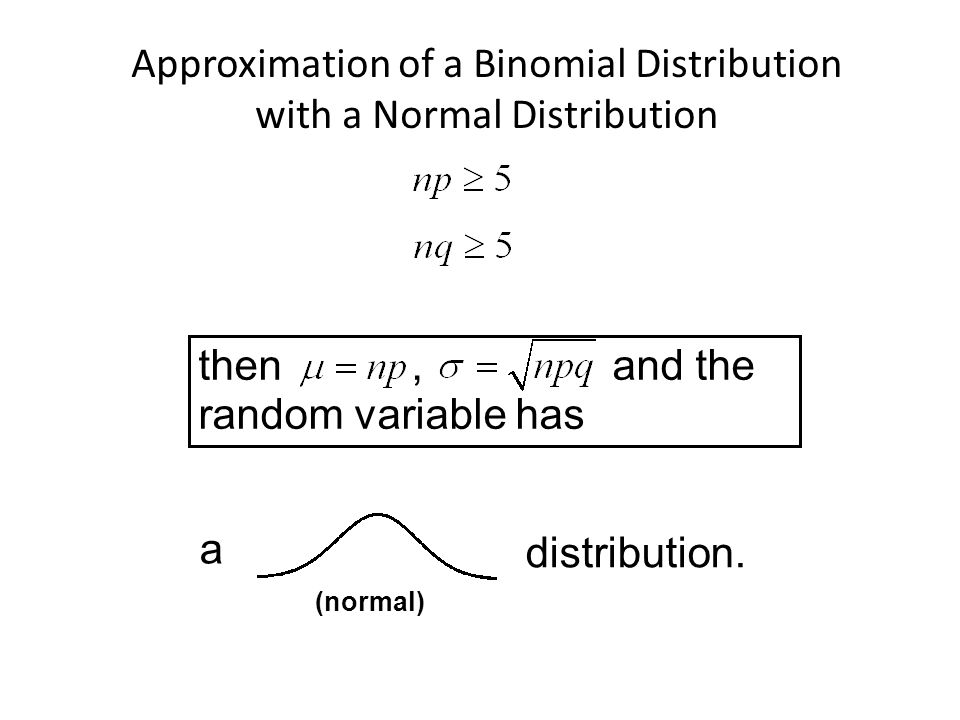 Approximation of a Binomial Distribution with a Normal Distribution then, and the random variable has distribution.