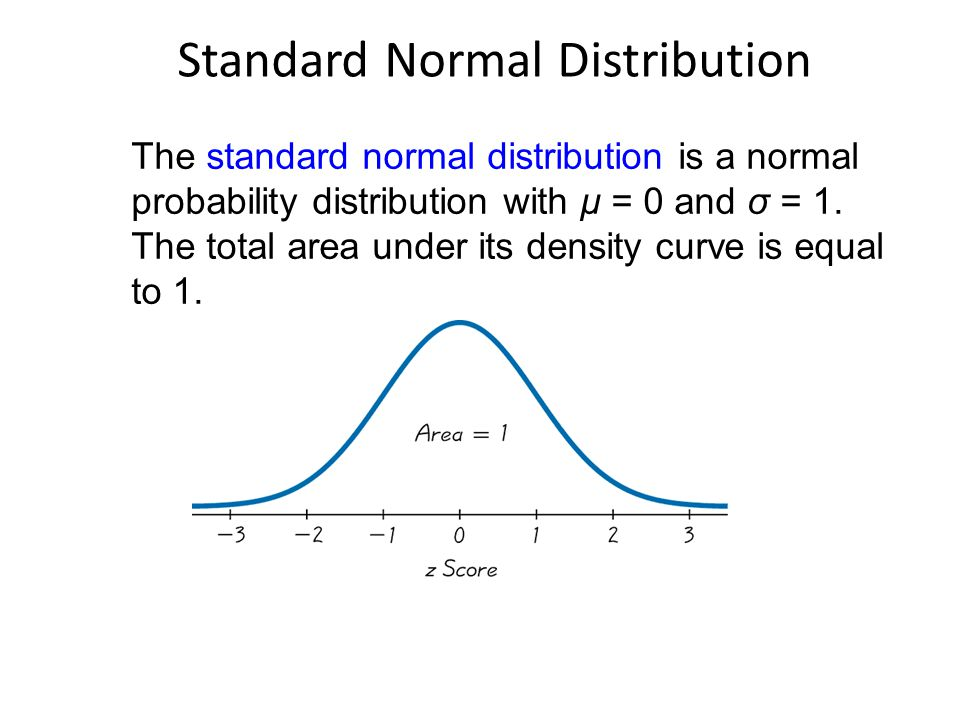 Standard Normal Distribution The standard normal distribution is a normal probability distribution with μ = 0 and σ = 1.
