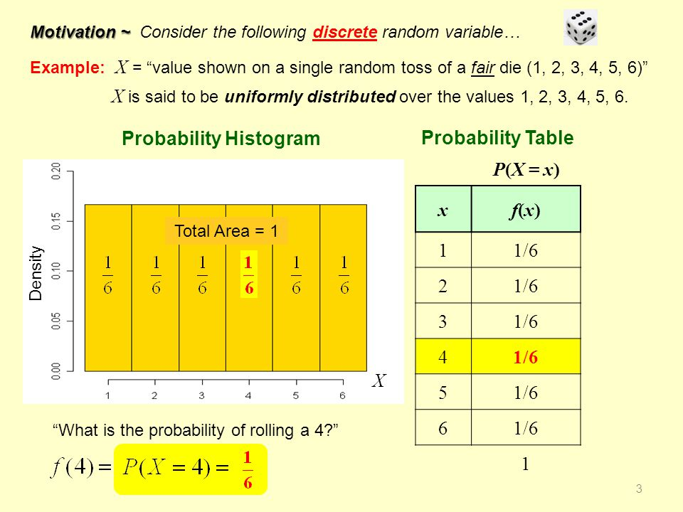 X Consider the following continuous random variable… Example: X = Ages of children from 1 year old to 6 years old What is the probability of rolling a 4? Further suppose that X is uniformly distributed over the interval [1, 6].