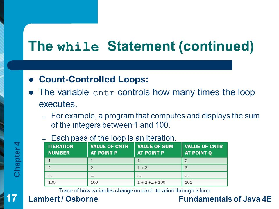 Chapter 4 Lambert / OsborneFundamentals of Java 4E 17 The while Statement (continued) Count-Controlled Loops: The variable cntr controls how many time