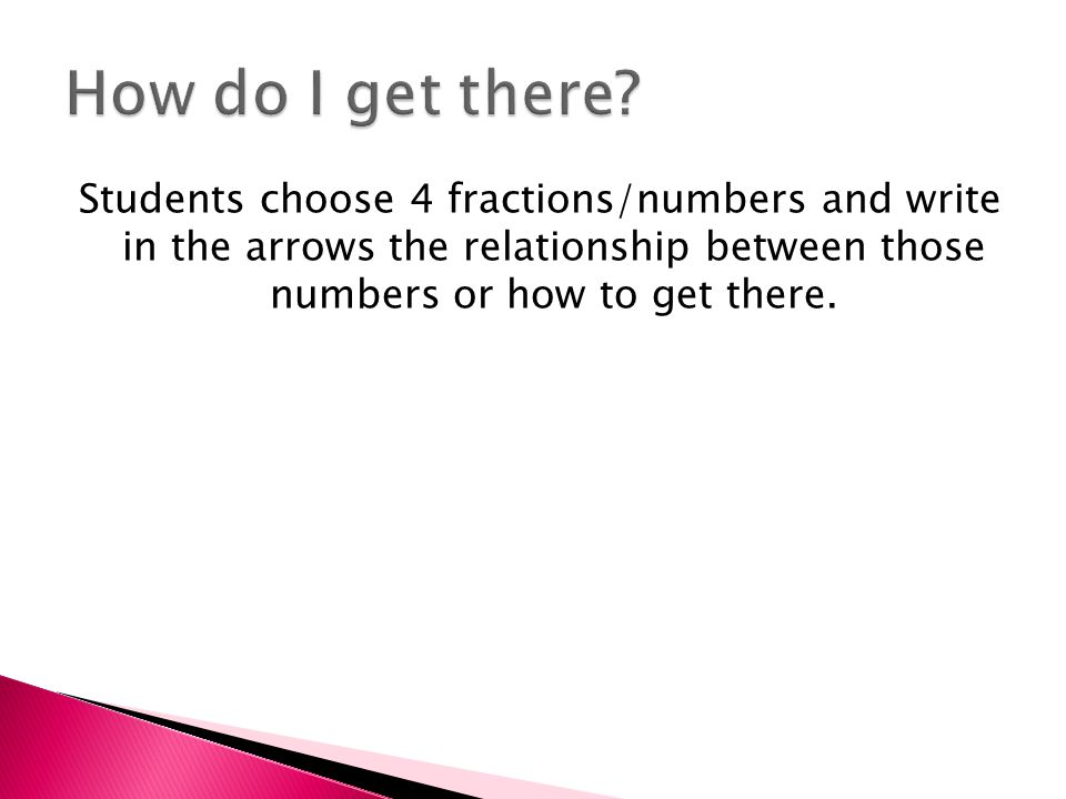Students choose 4 fractions/numbers and write in the arrows the relationship between those numbers or how to get there.