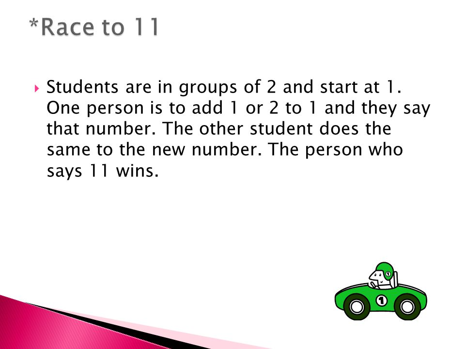  Students are in groups of 2 and start at 1.