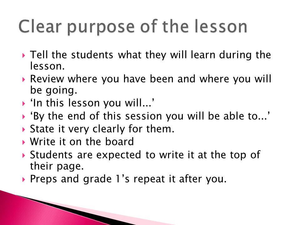  Tell the students what they will learn during the lesson.