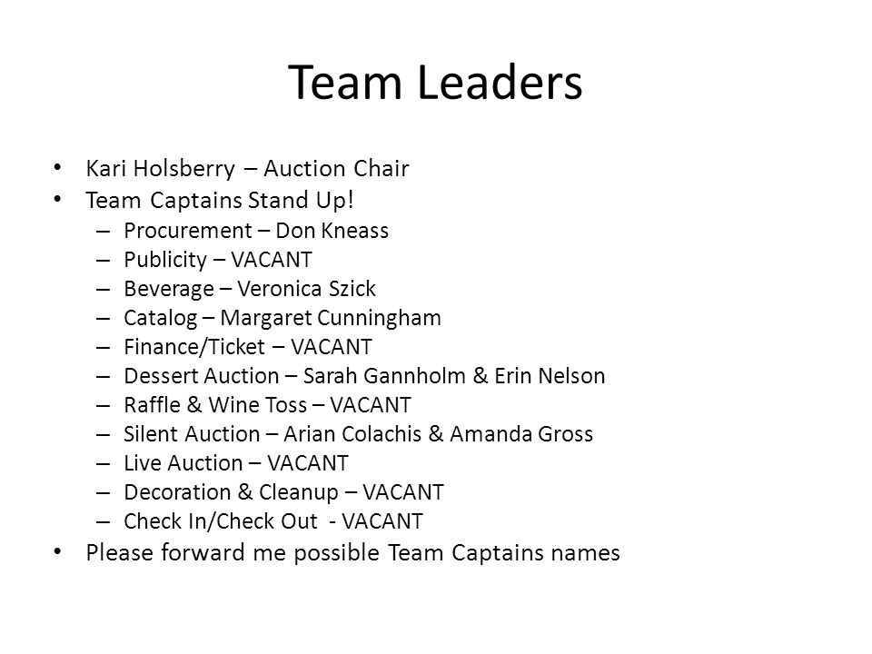 Team Leaders Kari Holsberry – Auction Chair Team Captains Stand Up! – Procurement – Don Kneass – Publicity – VACANT – Beverage – Veronica Szick – Cata