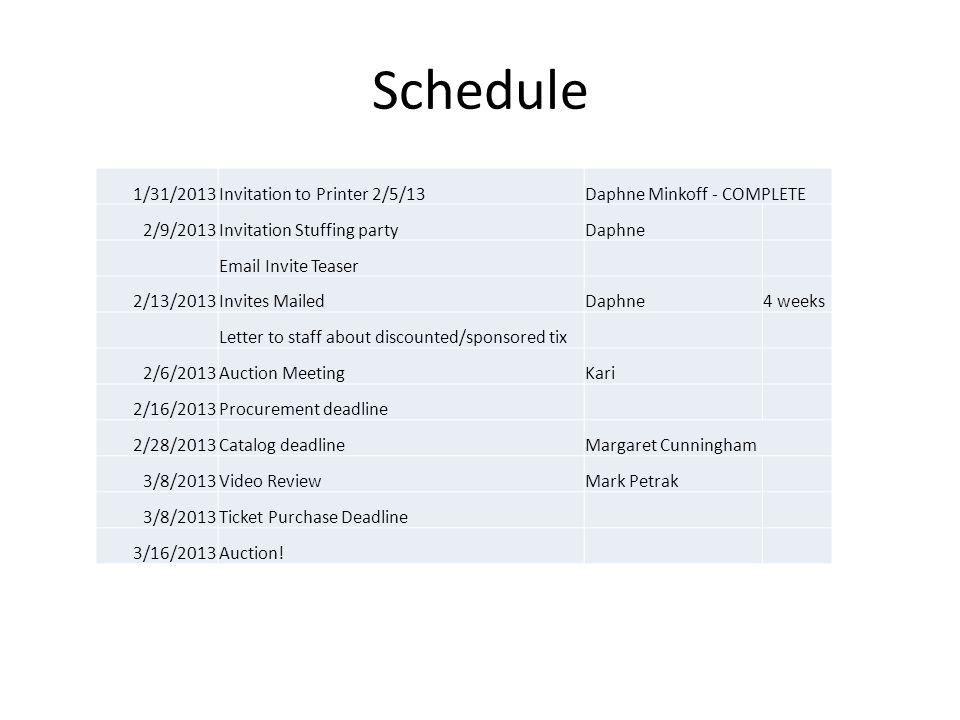 Schedule 1/31/2013Invitation to Printer 2/5/13Daphne Minkoff - COMPLETE 2/9/2013Invitation Stuffing partyDaphne Email Invite Teaser 2/13/2013Invites MailedDaphne4 weeks Letter to staff about discounted/sponsored tix 2/6/2013Auction MeetingKari 2/16/2013Procurement deadline 2/28/2013Catalog deadlineMargaret Cunningham 3/8/2013Video ReviewMark Petrak 3/8/2013Ticket Purchase Deadline 3/16/2013Auction!