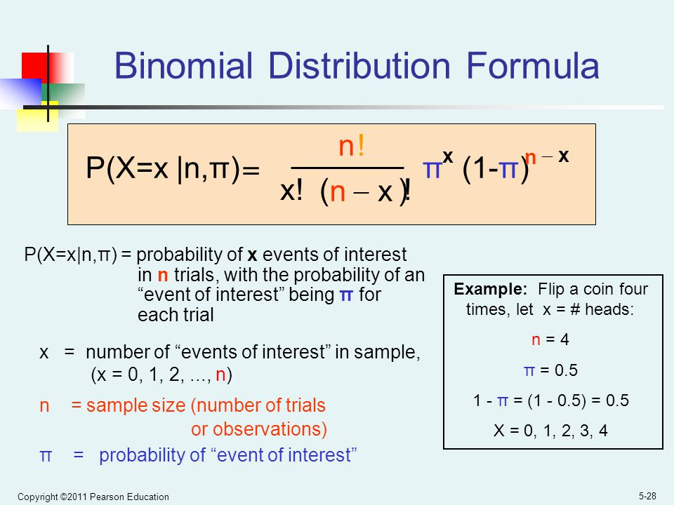 Copyright ©2011 Pearson Education 5-28 P(X=x|n,π) = probability of x events of interest in n trials, with the probability of an event of interest being π for each trial x = number of events of interest in sample, (x = 0, 1, 2,..., n) n = sample size (number of trials or observations) π = probability of event of interest P(X=x |n,π) n x.