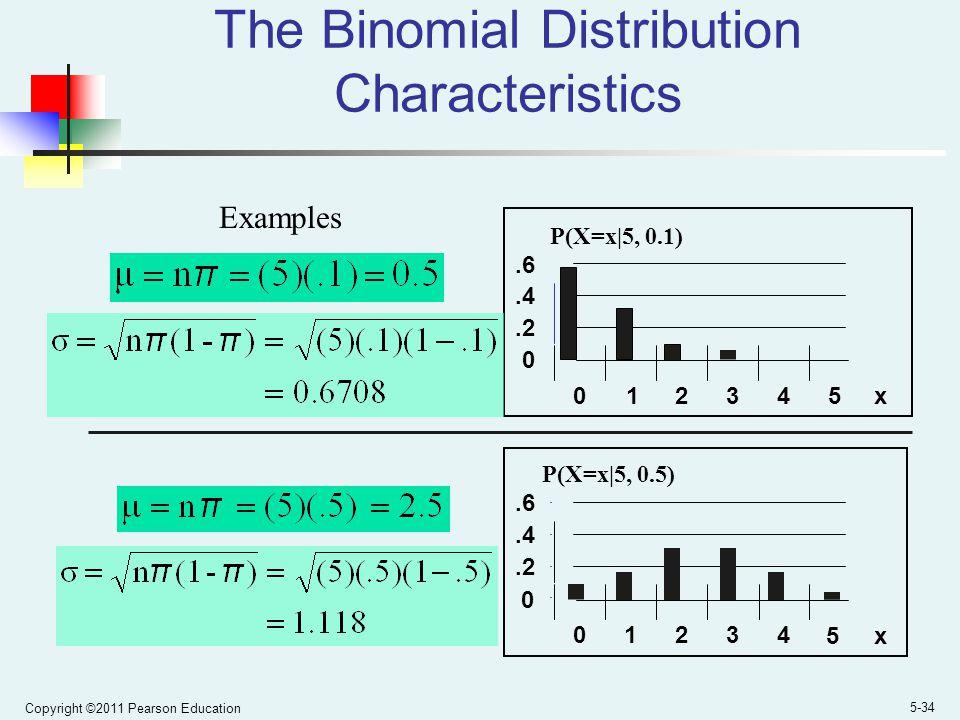Copyright ©2011 Pearson Education 5-34 The Binomial Distribution Characteristics 0.2.4.6 0 1 2345 x P(X=x|5, 0.1).2.4.6 01234 5x P(X=x|5, 0.5) 0 Examples