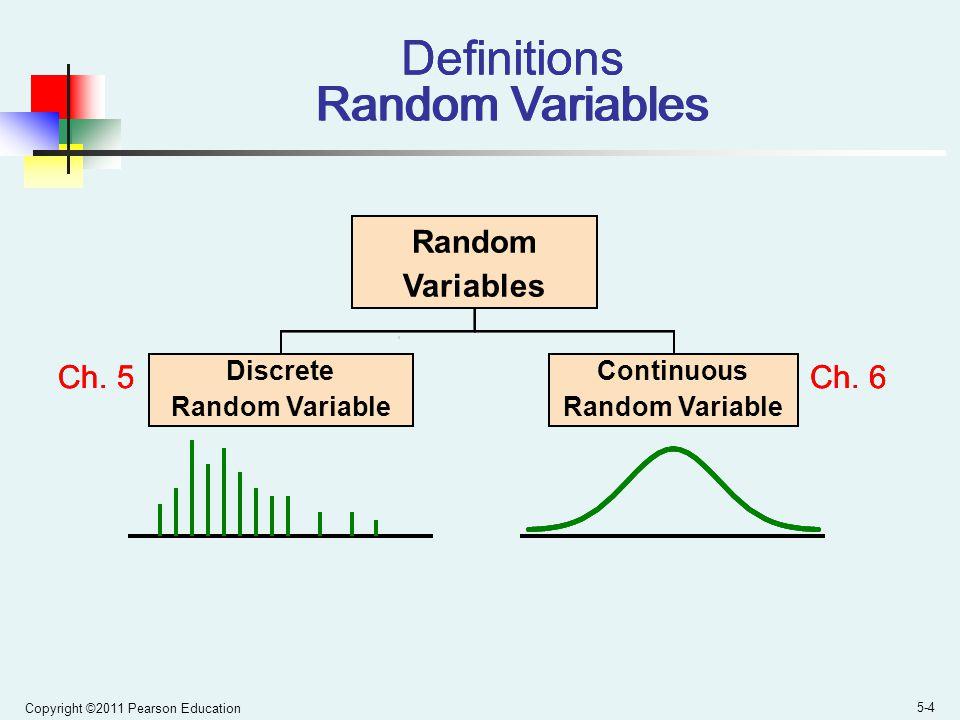 Copyright ©2011 Pearson Education 5-4 Definitions Random Variables Random Variables Discrete Random Variable Continuous Random Variable Ch.