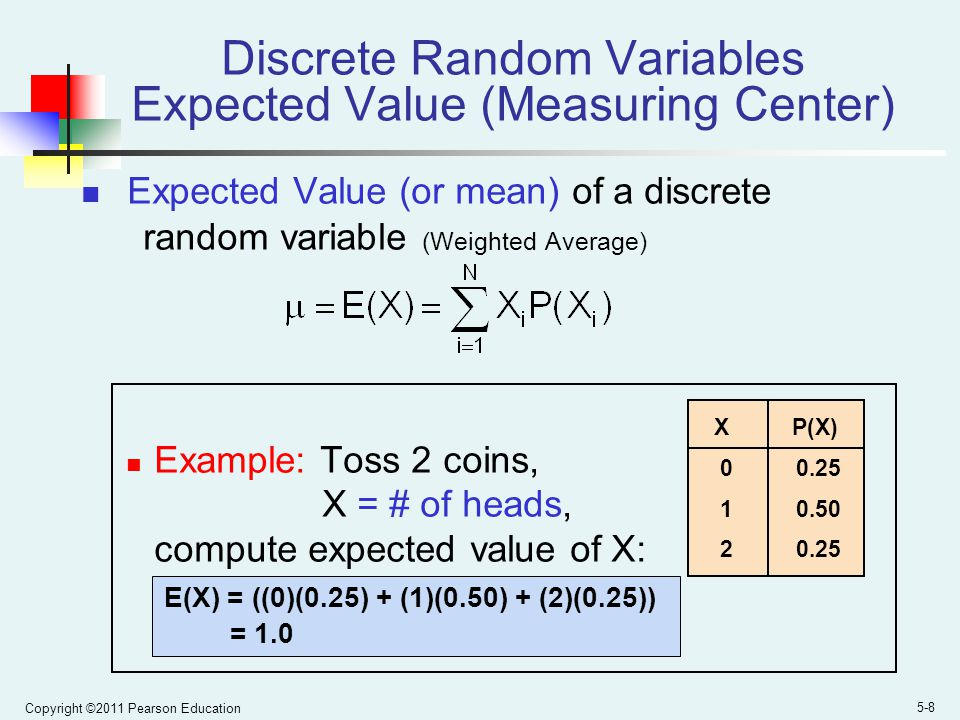 Copyright ©2011 Pearson Education 5-8 Discrete Random Variables Expected Value (Measuring Center) Expected Value (or mean) of a discrete random variable (Weighted Average) Example: Toss 2 coins, X = # of heads, compute expected value of X: E(X) = ((0)(0.25) + (1)(0.50) + (2)(0.25)) = 1.0 X P(X) 0 0.25 1 0.50 2 0.25