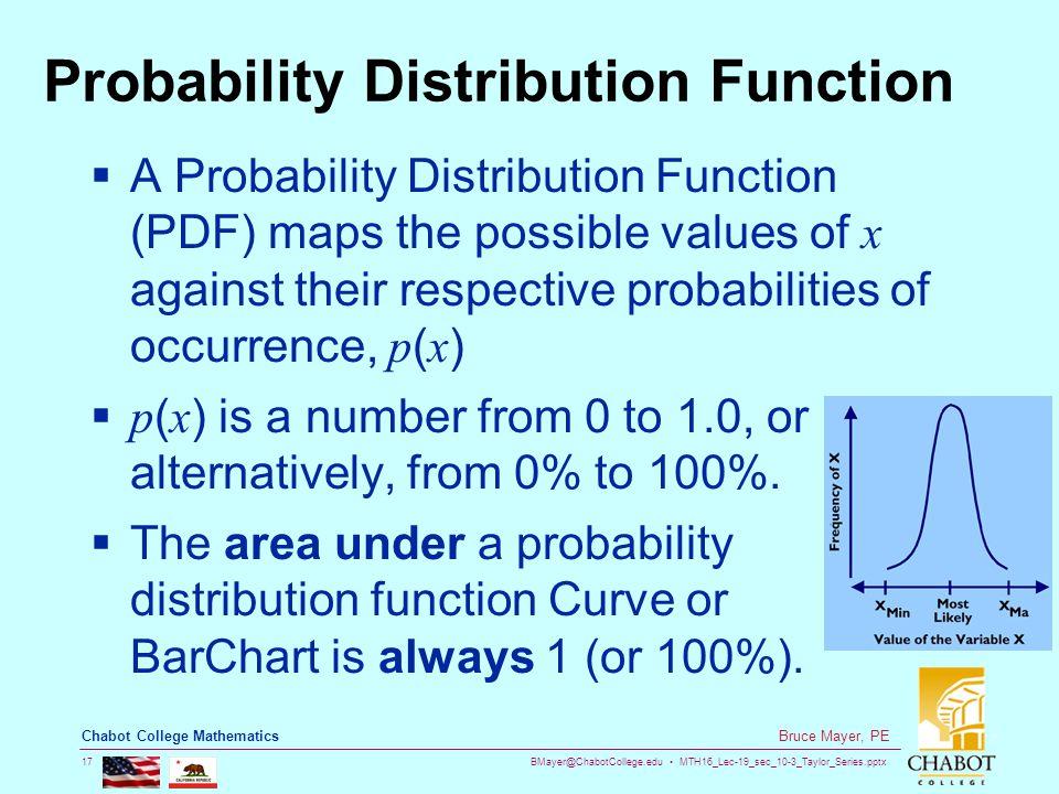 BMayer@ChabotCollege.edu MTH16_Lec-19_sec_10-3_Taylor_Series.pptx 17 Bruce Mayer, PE Chabot College Mathematics Probability Distribution Function  A