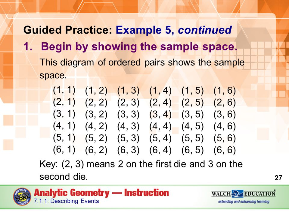 Guided Practice: Example 5, continued 1.Begin by showing the sample space.