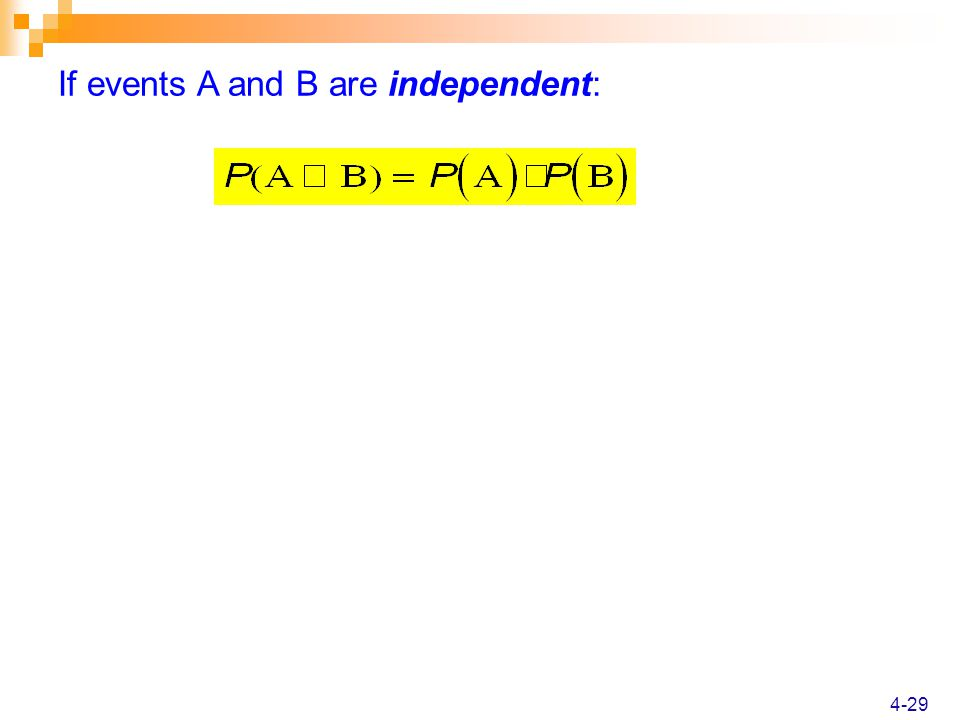 4-29 If events A and B are independent: