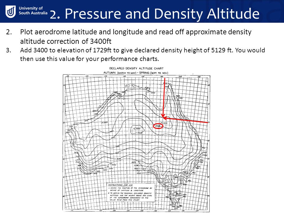 2.Plot aerodrome latitude and longitude and read off approximate density altitude correction of 3400ft 3.Add 3400 to elevation of 1729ft to give decla