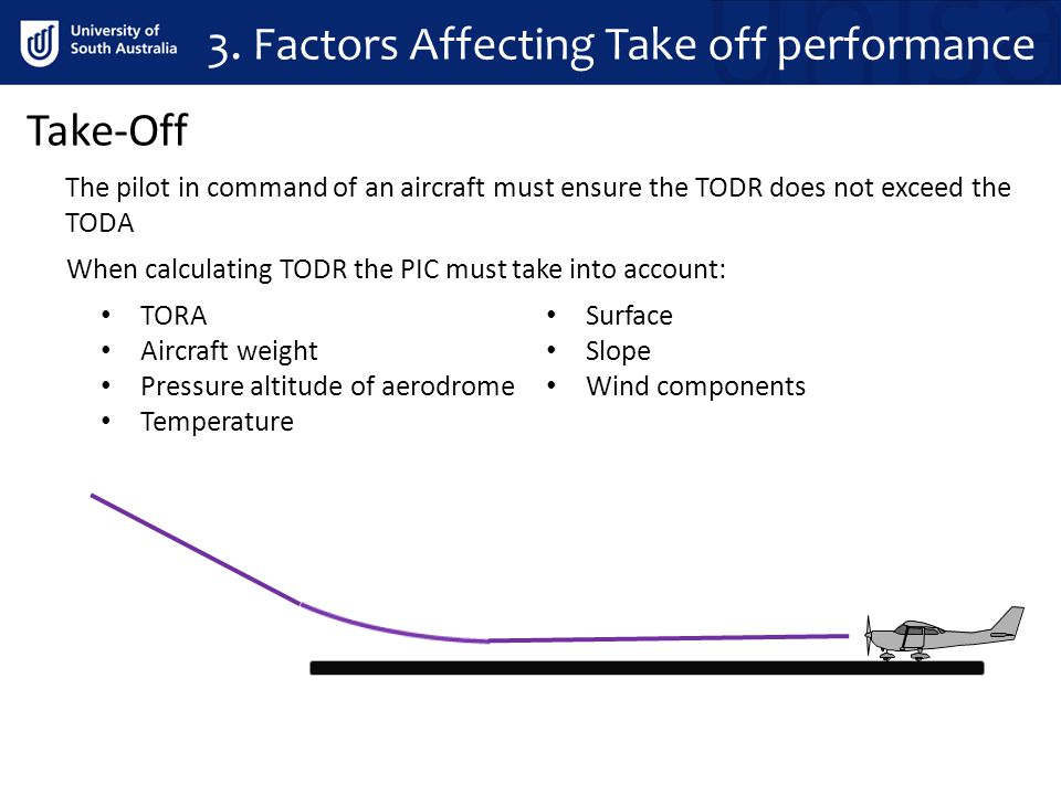 Take-Off The pilot in command of an aircraft must ensure the TODR does not exceed the TODA When calculating TODR the PIC must take into account: TORA