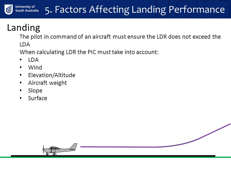 5. Factors Affecting Landing Performance The pilot in command of an aircraft must ensure the LDR does not exceed the LDA When calculating LDR the PIC