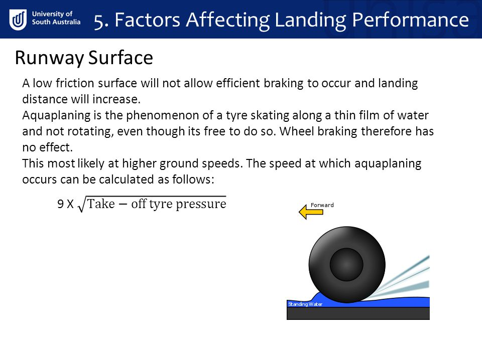 A low friction surface will not allow efficient braking to occur and landing distance will increase. Aquaplaning is the phenomenon of a tyre skating a