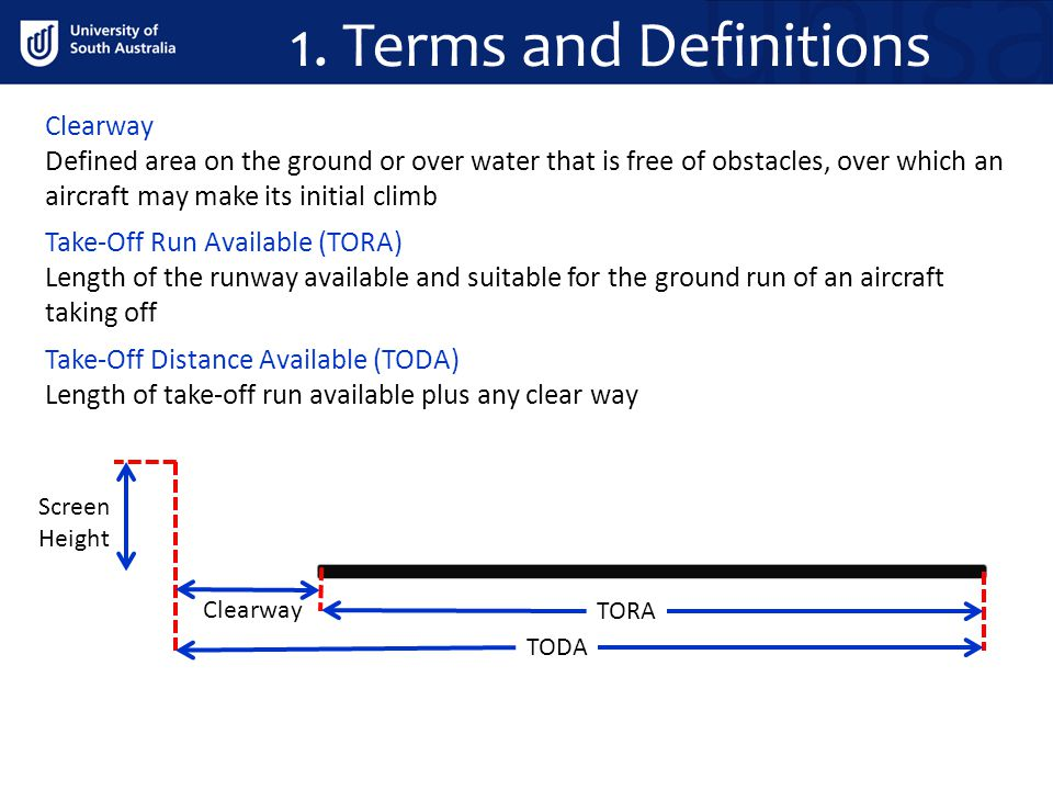 TORA TODA Screen Height Take-Off Distance Available (TODA) Length of take-off run available plus any clear way Clearway Defined area on the ground or