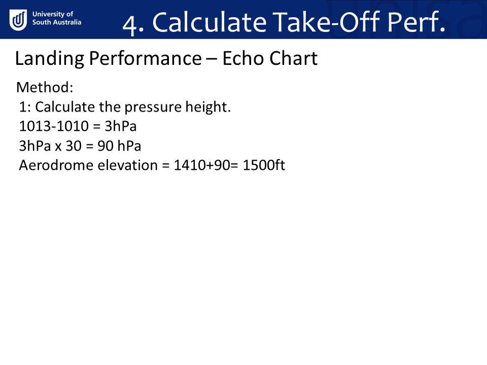 4. Calculate Take-Off Perf. Method: Landing Performance – Echo Chart 1: Calculate the pressure height. 1013-1010 = 3hPa 3hPa x 30 = 90 hPa Aerodrome e