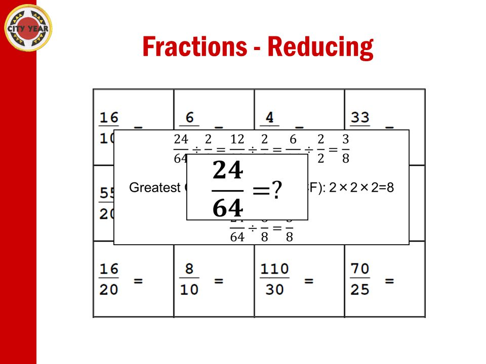 Fractions - Reducing