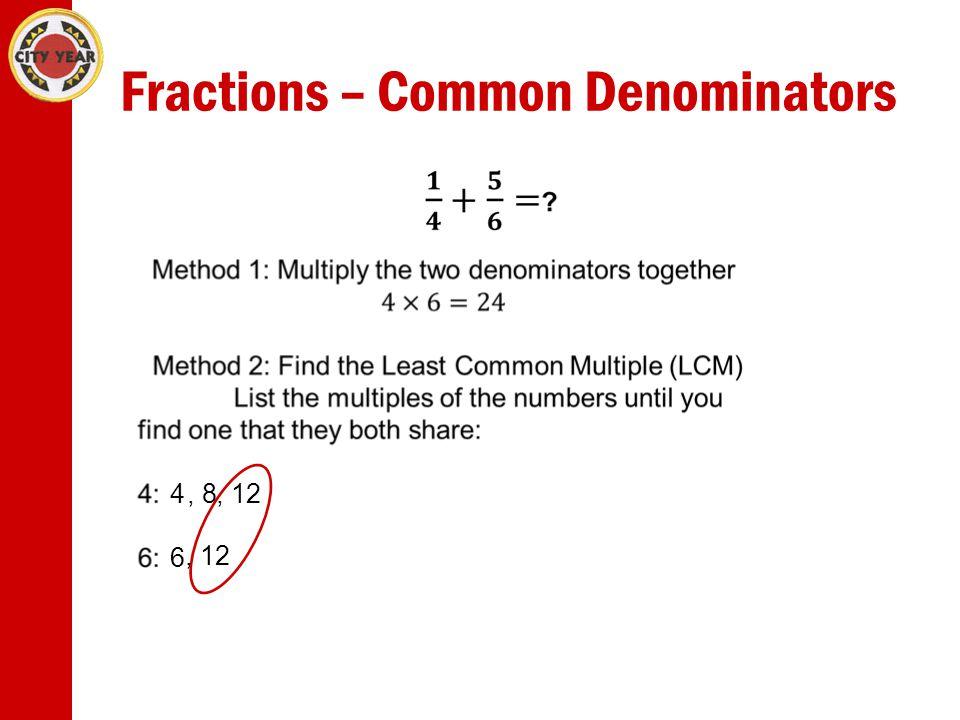 Fractions – Common Denominators 4, 8 6, 12