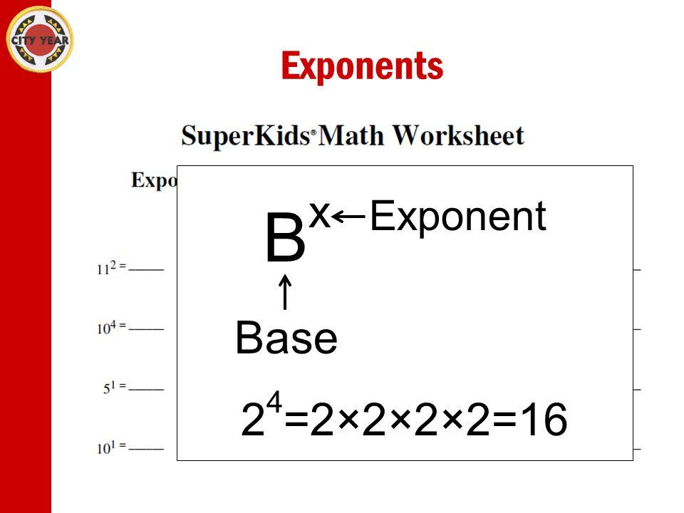 Exponents B x Exponent Base 2 4 =2×2×2×2=16