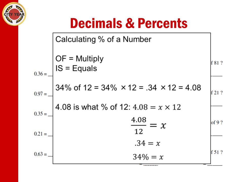 Decimals & Percents Decimals and Percents D→P Multiply by 100 P→D Divide by 100