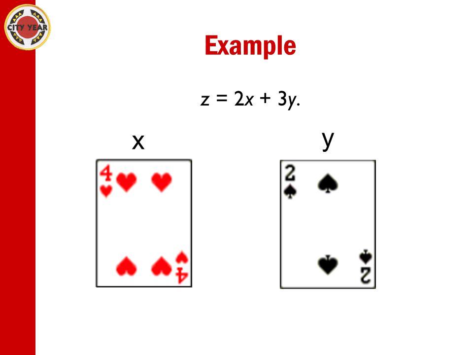 Example z = 2x + 3y. x y
